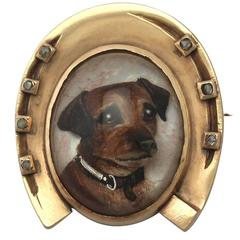 Antique Diamond and Essex Crystal, Yellow Gold Dog Brooch - Victorian