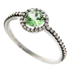 Jona White Diamond Mint Green Grossular Garnet 18 Karat White Gold Ring