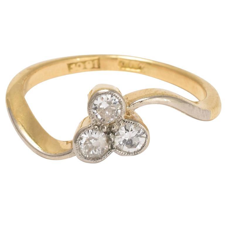 Art Nouveau Diamond Trefoil Ring At 1stdibs