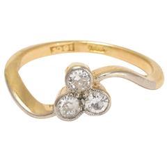Art Nouveau Diamond Trefoil Ring