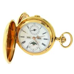 Vintage Swiss 18k Yellow Gold Quarter Repeater Pocket Watch