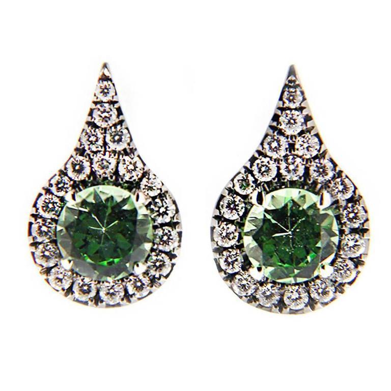 Jona Mint Green Grossular Garnet Diamond Gold Earrings