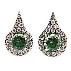 Jona Mint Green Grossular Garnet White Diamond 18 Karat White Gold Earrings
