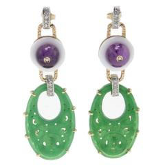 Luise Amethyst White Agate Gemstone Diamond Earrings