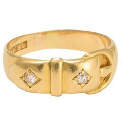 Antique Victorian Two Diamond Gold Buckle Ring