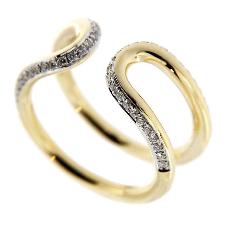 Jona White Diamond 18 Karat Yellow Gold Open Band Ring