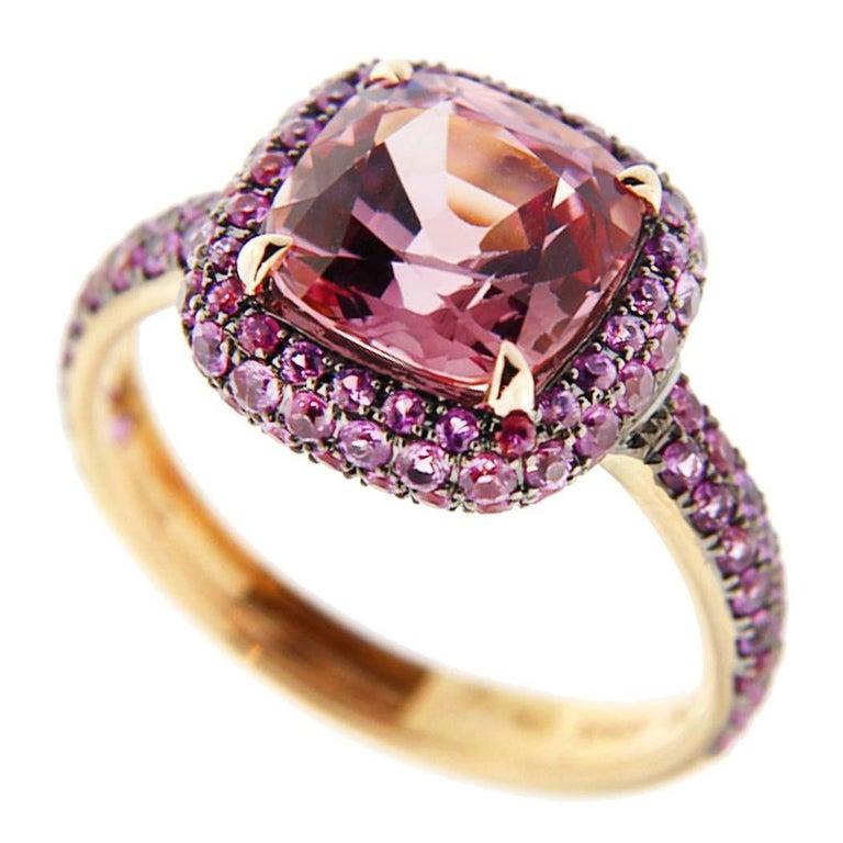 Jona Pink Spinel Pink Sapphire 18 Karat Rose Gold Ring For Sale