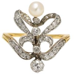 Edwardian Diamond Pearl Belle Époque Ring