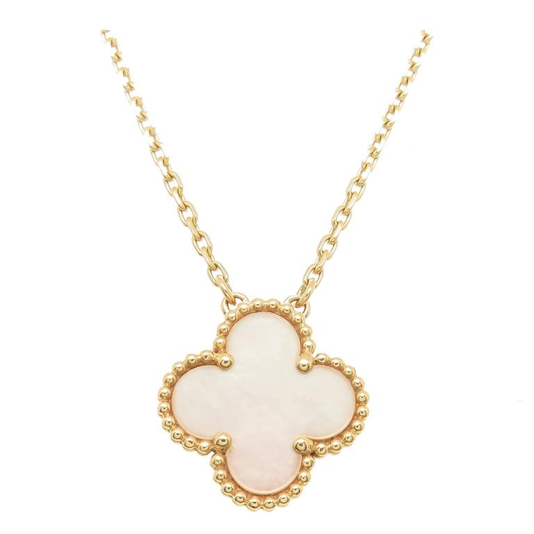 Van Cleef And Arpels Mother Of Pearl Necklace: Van Cleef And Arpels Alhambra Mother Of Pearl Gold Pendant