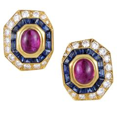 Van Cleef & Arpels Ruby Sapphire Diamond Gold Clip-on Earrings
