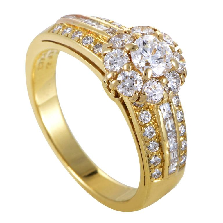 Van Cleef & Arpels Diamond Gold Flower Ring For Sale
