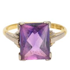 Art Deco Synthetic Alexandrite Cocktail Ring