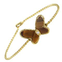 Van Cleef & Arpels Tiger's Eye Diamond Gold Butterfly Bangle Bracelet