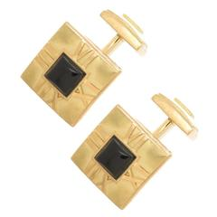 1990s Tiffany & Co. Onyx Gold Atlas Cufflinks