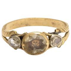 17th Century Stuart Crystal Diamond Memento Mori Skull Ring