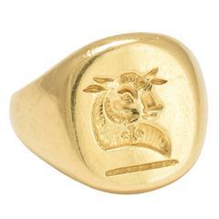 1920s Heraldic Bull Signet Ring