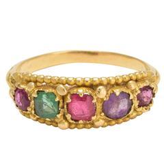 Victorian Etruscan Revival Multi-Gem Ring