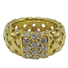 Tiffany & Co. Vannerie Diamond Gold Band Ring