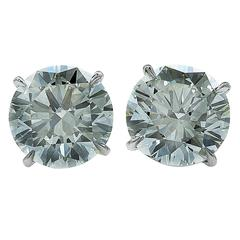 6.03 Carats Diamonds Solitaire Stud Earrings
