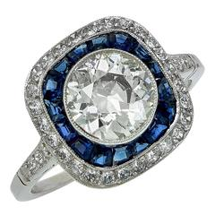 1.65 Carat European Cut Diamond Sapphire Platinum Engagement Ring