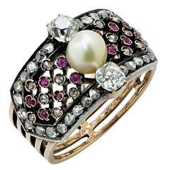 Antique Victorian Natural Pearl Ruby Diamond Ring