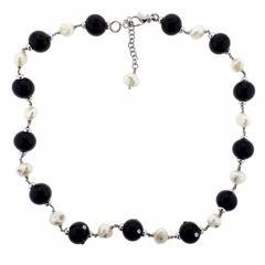 Modern Italian Pearl Onyx Diamond Gold Necklace
