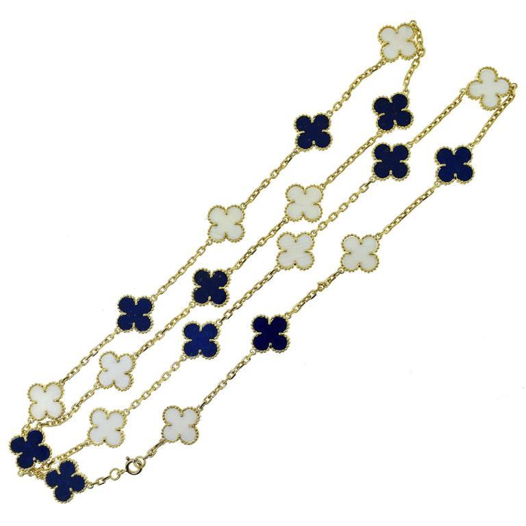Van Cleef & Arpels Alhambra Lapis Lazuli & White Coral 20 Motif Necklace 1