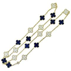 Van Cleef & Arpels Alhambra Lapis Lazuli & White Coral 20 Motif Necklace