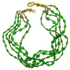 Vintage Five Strand Emerald Bead and High Karat Yellow Gold Necklace