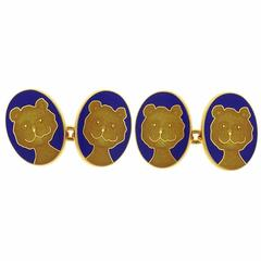 Longmire Lapis Gold Teddy Bear Cufflinks