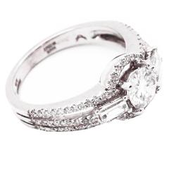 1.13 Carat white Diamond 18k white Gold Engagement Ring