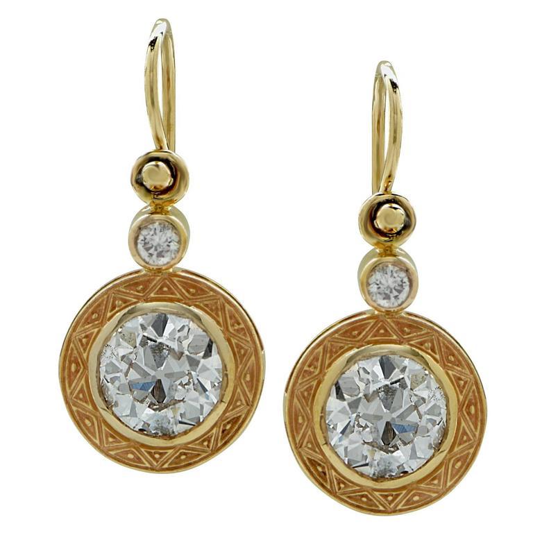 3 Carat European Cut Diamond Gold Earrings For Sale