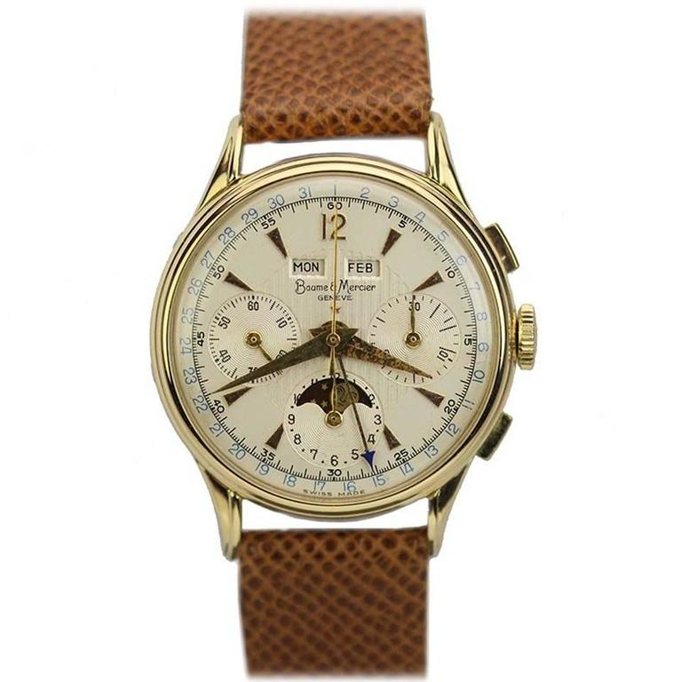 baume and mercier yellow gold date chronograph moon