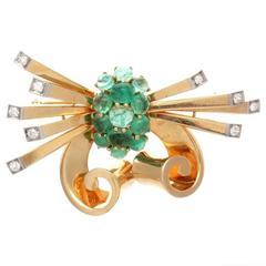 Trabert & Hoeffer Mauboussin Emerald Diamond Gold Brooch
