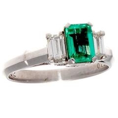 Emerald Diamond Platinum Engagement Ring