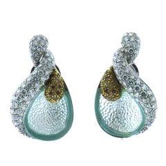 Ambrosi Aquamarine Diamond 18K White Gold Earrings