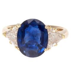Natural 4.22 Carat Sapphire Diamond Gold Ring