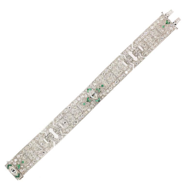 Art Deco Diamond Emerald Platinum Bracelet For Sale