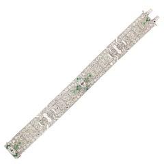 12.50 Carat Old Diamond Art Deco Platinum Bracelet