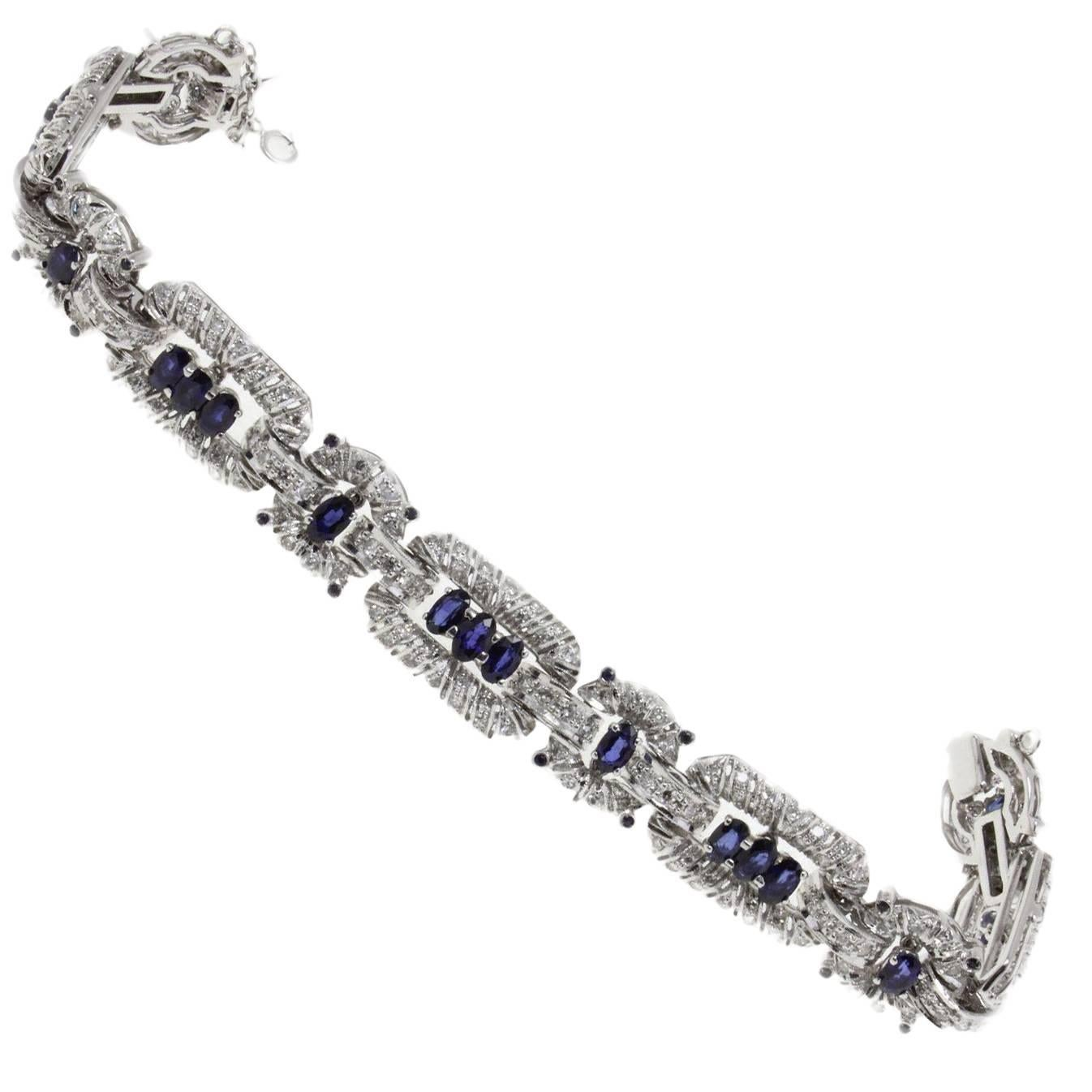 Sapphire and  Diamond Gold Bracelet
