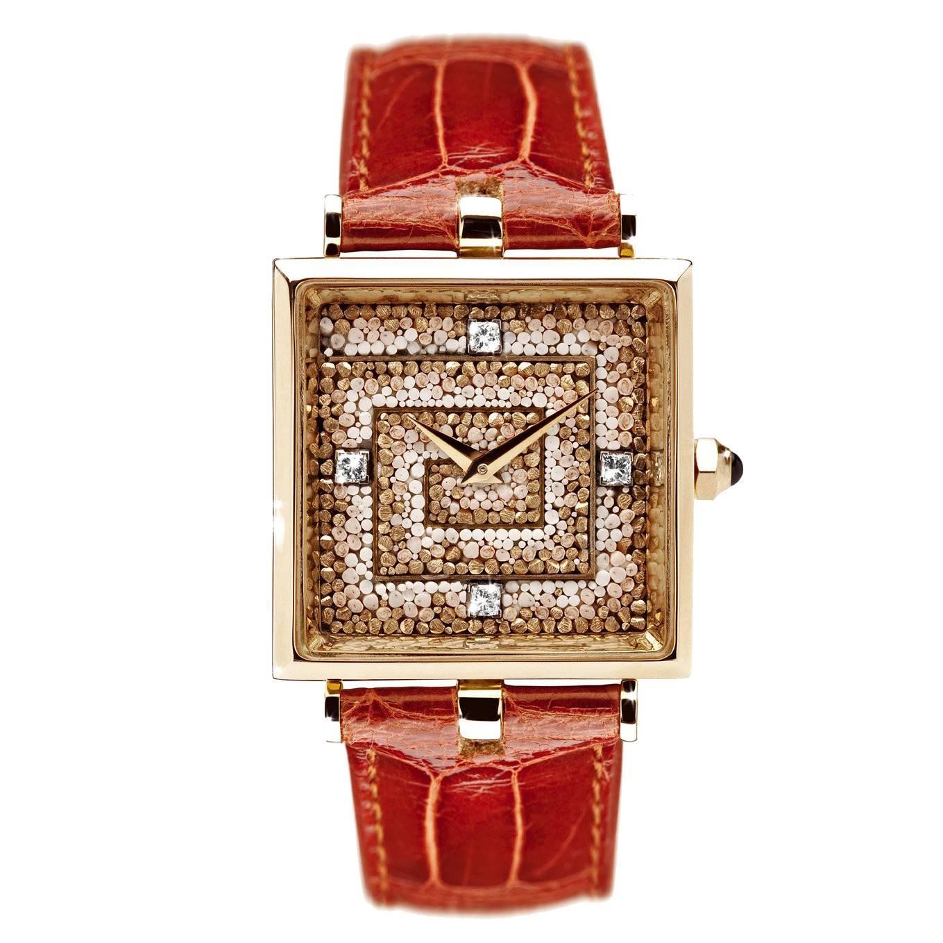 Sicis Labirinto Micromosaic Diamond Gold Beige Watch
