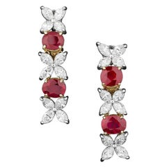 Untreated Burma Ruby and Diamond Earrings