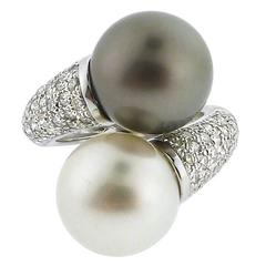 Gray and White South Sea Pearl and Diamond Ring