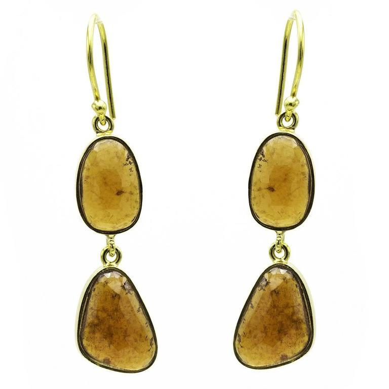 Hessonite Garnet and Gold Dangle Drop Earrings with Inclusions
