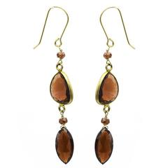 Marquise Faceted Garnet and Gold Dangle Drop Earrings