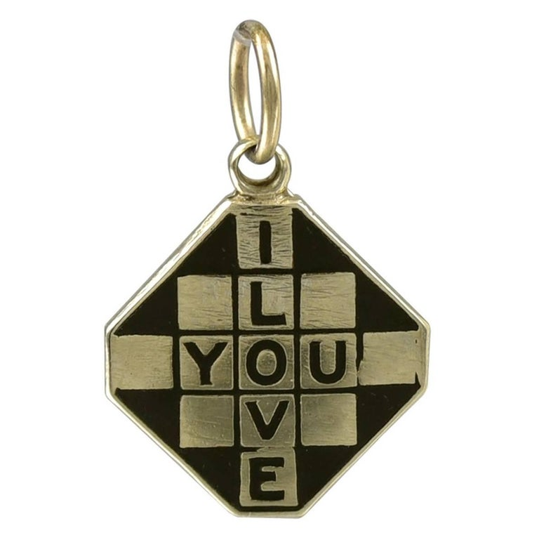 1940s I Love You Enamel Gold Checkerboard Charm For Sale