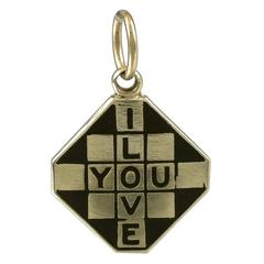 1940s I Love You Enamel Gold Checkerboard Charm