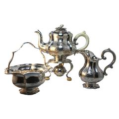 Antique 1890s Bonebakker Silver Tea Set