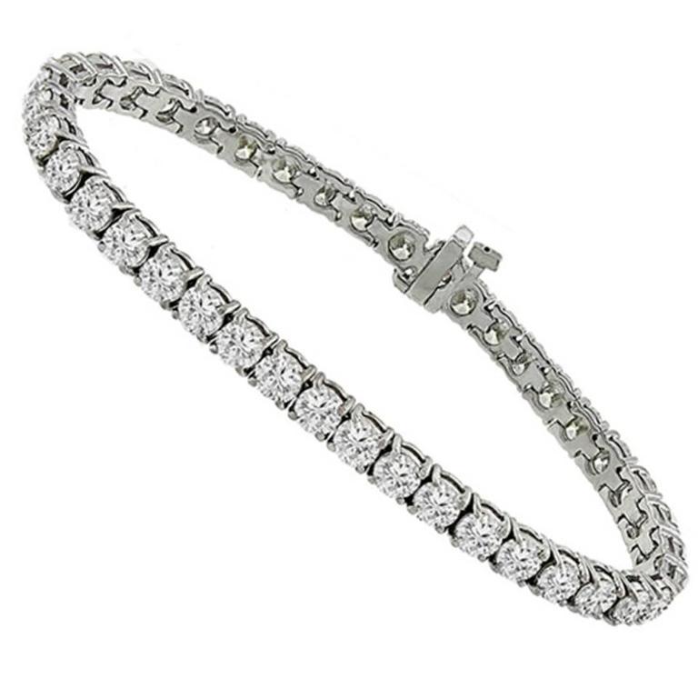Classic 12 Carats Diamonds Gold Tennis Bracelet