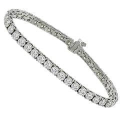 Classic 12 Carats Diamonds Gold Tennis Bracelet